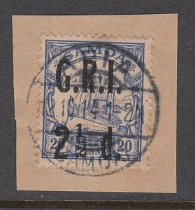 SAMOA 1914 GRI opt on German Samoa : 2½d used on piece Apia cds.............A177