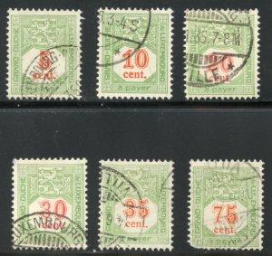 Luxembourg Scott J10-J12, J14-J15, J19 Postage Dues Used VFLH - SCV $2.30
