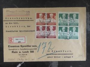1935 Lech Germany Commercial Registered Cover To Frankfurt