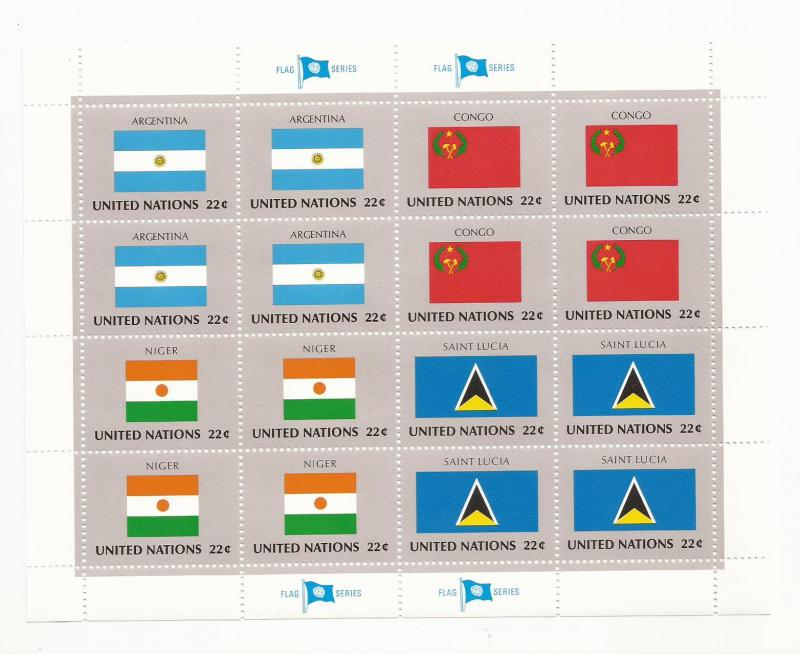 1987 UN NY - Mini Sheet Set United Nations Flags Series #499 - 514