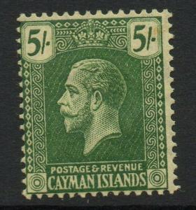 CAYMAN ISLANDS SG64a 1921 5/= DEEP GREEN ON PALE YELLOW MTD MINT