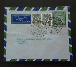 1958 Lahore Pakistan To Ronneby Sweden Back Advertisement Label Air Mail Cover