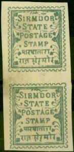 Sirmoor 1892 1p Blue SG4c Imperf Pair Fine Unused