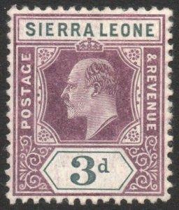 SIERRA LEONE-1905 3d Dull Purple & Grey watermark inverted Sg 91w MM V42948