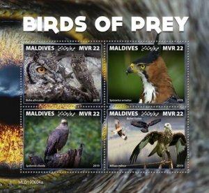MALDIVES - 2019 - Birds of Prey - Perf 4v Sheet - MNH