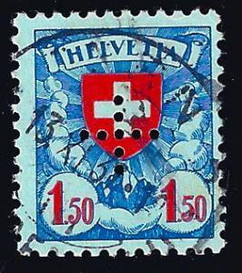 Switzerland 1935 Zum. D II 17, 1.50 fr perforated cross, not in Scott