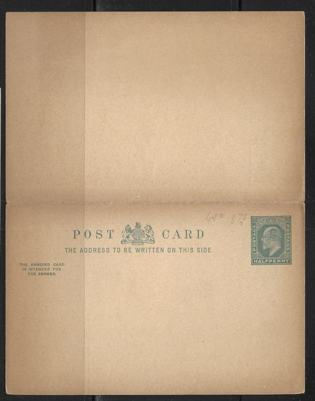Great Britain Postal Stationery Postcard H&G 31 Mint
