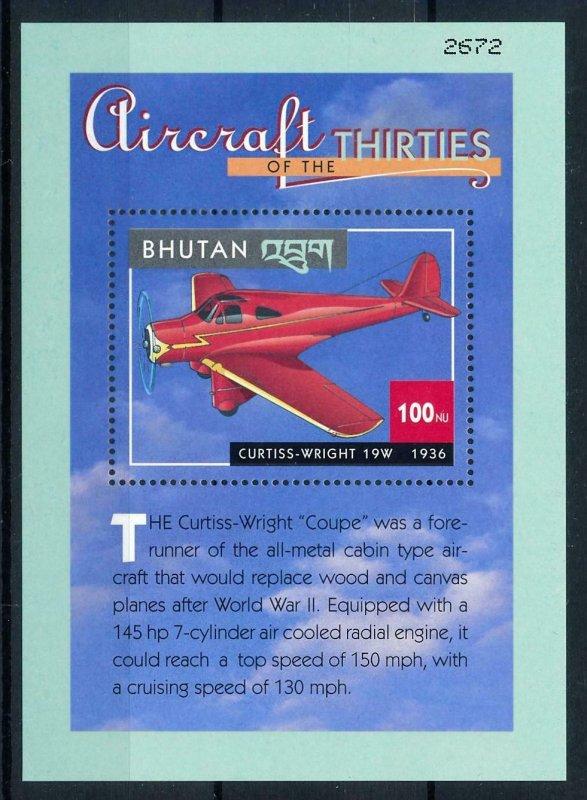 [101629] Bhutan 2000 Aviation aircraft Curtiss Wright 19W Sheet MNH