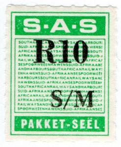(I.B) South Africa Railways : Parcel Stamp R10
