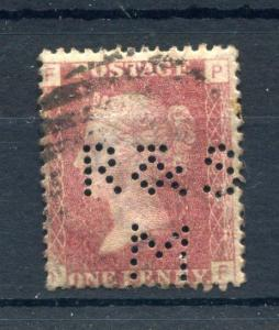 PENNY RED PLATE 156 (?) WITH 'R&SM' PERFIN