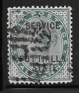 India Patiala O5: 1/2a Victoria, used, F