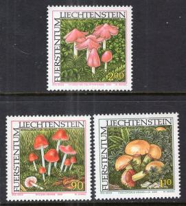 Liechtenstein 1193-1195 Mushrooms MNH VF