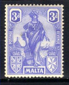 Malta 1922 - 26 KGV 3d Cobalt Emblematic Statue MM SG 130 ( B1159 )