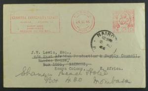 UK to Nairobi Kenya cornercard Meter Fwd June 1944