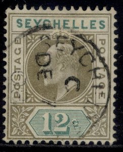 SEYCHELLES EDVII SG63, 12c olive-sepia & dull green, VERY FINE USED. CDS