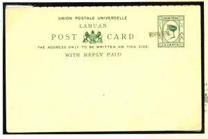 W315 1894LABUAN Postal Stationery 3c + 3c *Specimen* UPU Reply Card Unused