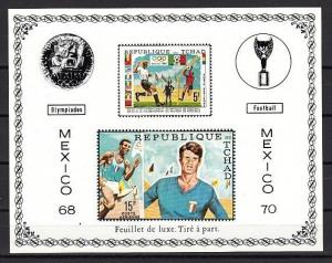 Chad, Scott cat. C66 A & C. Soccer and Olympics issue as a Deluxe s/sheet.