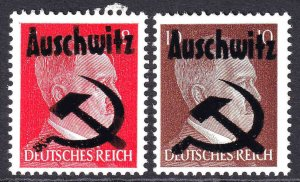 GERMANY 511-511A AUSCHWITZ HAMMER AND SICKLE OVERPRINT OG NH U/M F/VF