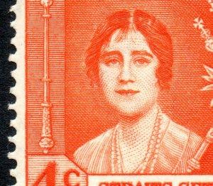 1937 Strait Settlement Sg 275 4c Coronation 'Gash On Queen's Forehead' MM