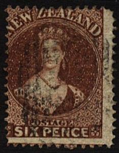 NEW ZEALAND 1864 6d Chalon perf 12½ wmk NZ SG 108 sound used...............99964