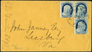 #24 3 STAMPS ON COVER LEESBURG, VA CV $134.50 BP2711