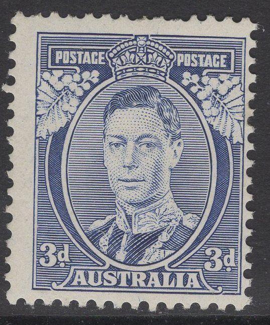 AUSTRALIA SG168a 1937 3d BLUE DIE I WHITE WATTLES MTD MINT