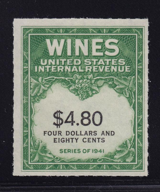 RE158 XF Wine revenue stamp unused with nice color cv $ 175 ! see pic !