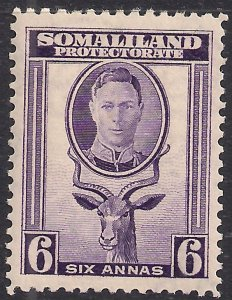 Somaliland 1942 KGV1 6 Annas Violet MM SG 110 ( K550 )