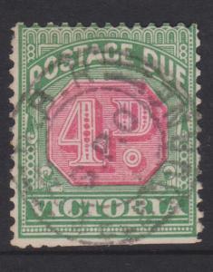 Australia Victoria Sc#J18 Used Inverted Watermark Trimmed Bottom