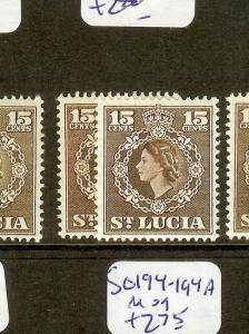ST LUCIA  (B1201) QEII  15C  SG180-180A  MOG
