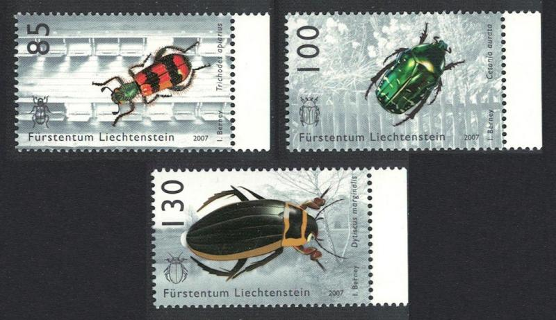 Liechtenstein Beetles Chafer Insects 3v with margins SG#1445/47