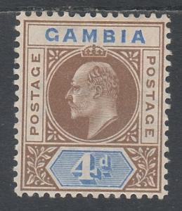 GAMBIA 1904 KEVII 4D WMK MULTI CROWN CA