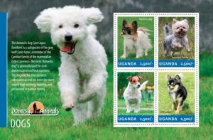 Uganda 2014 History of Domestic Animals - Dogs 4 Stamp Sheet 21D-135