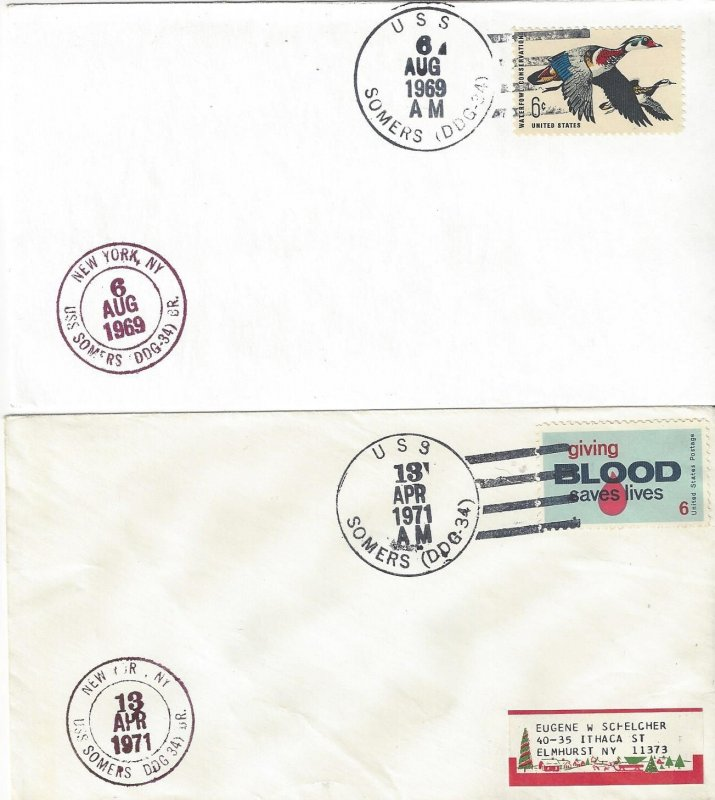 US Naval Cover USS Somers DDG 34  1969, 1971
