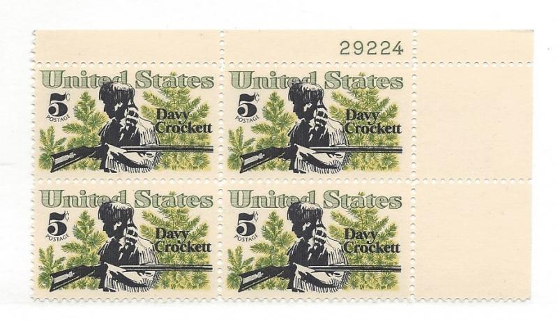 United States, 1330, 5c Davy Crockett Plate Block of 4 #29224 UR, MNH