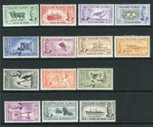 FALKLAND ISLANDS-1952  A lightly mounted mint set of 14 Sg 172-185