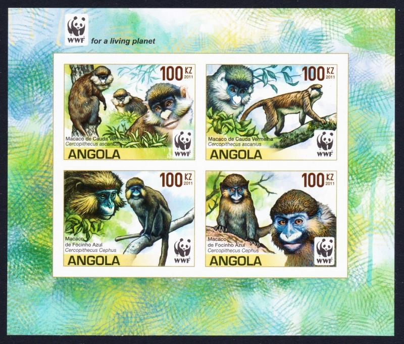 Angola WWF Monkeys Guenons 4v imperforated Block of 4 WWF Logo