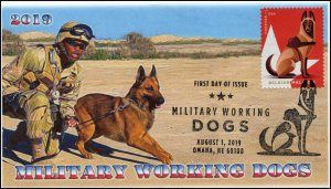 19-169, 2019, Military Working Dogs, Pictorial Postmark, FDC, Belgian Malinois