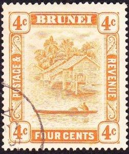 BRUNEI 1929 4c Orange SG65 FU