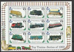 Sierra Leone MNH S/s Toy Trains 1992