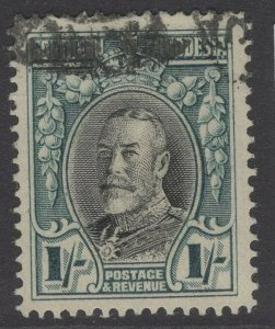 SOUTHERN RHODESIA SG23b 1937 1/= BLACK & GREENISH BLUE p14 USED