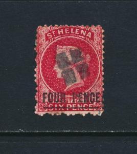ST HELENA 1864, 4d PERF 12½ WMK REVERSED VF USED SG#13x  (SEE BELOW)
