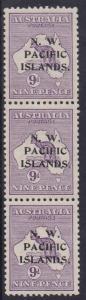 NWPI NEW GUINEA 1915 KANGAROO 9D ABC STRIP 1ST WMK WITH HOLLOW STOP VARIETY