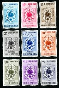 Venezuela Stamps # C500-8 VF OG H Set of 9 Scott Value $437.00