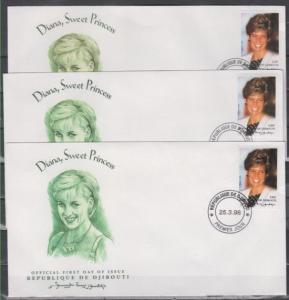 Djibouti, Scott cat. 775 A-C. Princess Diana issue on 3 First day covers.