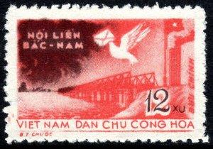 Viet Nam SC 99, MNH. Hien Luong Bridge. Carrier pigeon, 1959