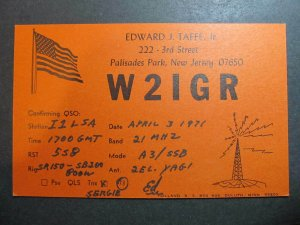 10480 Amateur Radio QSL Card PALISADES PARK NEW JERSEY USA