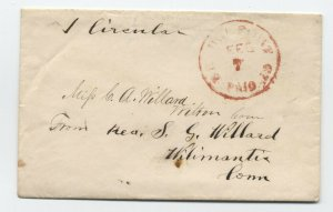 1850s Bridgeport CT red CDS paid integral 1 circular to Willimantic [5252.41]