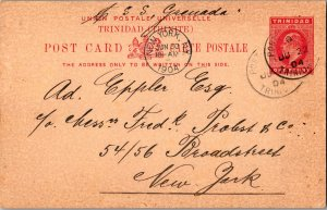 Trinidad 1d KEVII Postal Card 1904 Port of Spain, Trinidad to New York, N.Y. ...