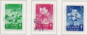 Finland Sc B98-100 1949 TB Flowers charity stamp set used